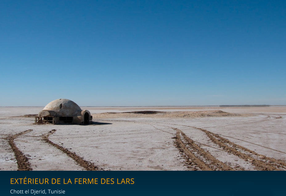 Extérieur de la ferm des Lars dans Star Wars, à Chott El Derid en Tunisie