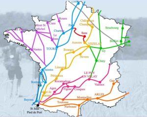 carte itinéraires Compostelle - crédit FFACC