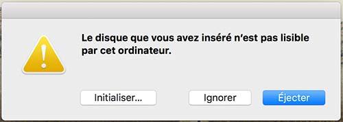demande de formatage de disque sur Mac