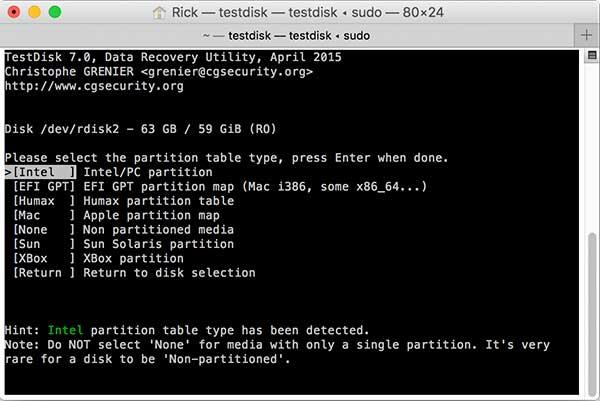 Choix du type de partition de la carte SD avec testdisk
